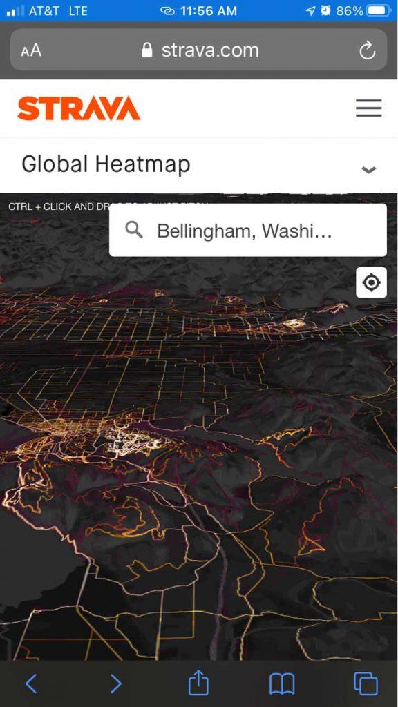 strava 3D heatmap on mobile