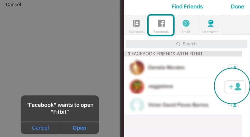 Fitbit app how to add facebook friends