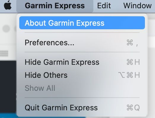 Garmin Express About function