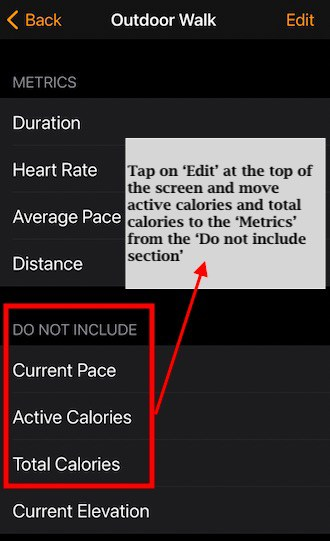 Display Active and Total Calories on Apple Watch