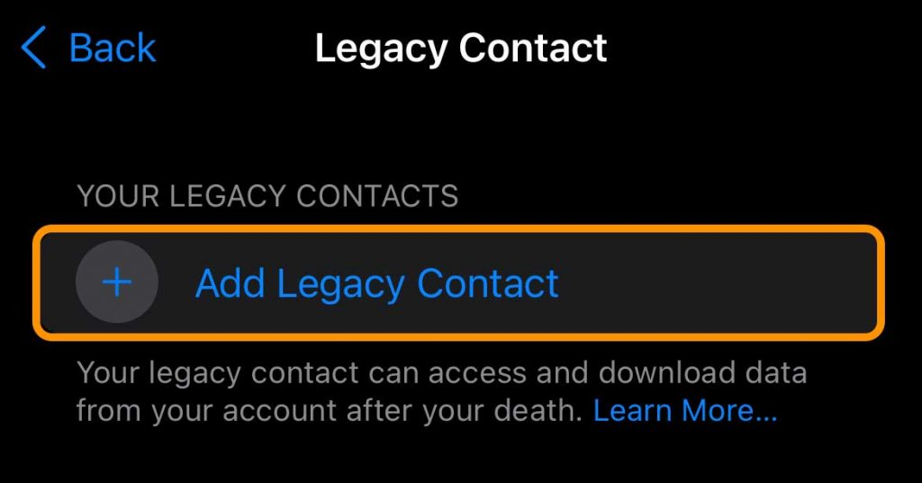 iPhone Apple ID Settings button to add a legacy contact