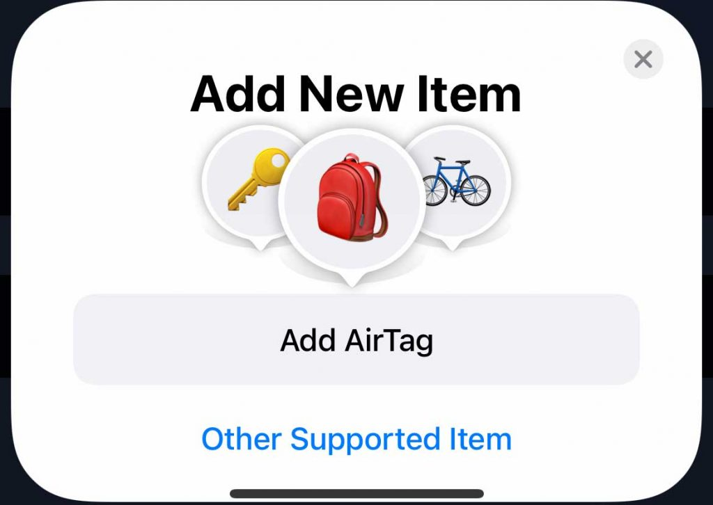 add a new AirTag or supported item to iPhone Find My app