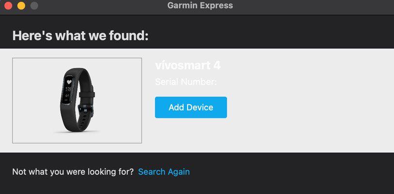 Garmin Express add a new device
