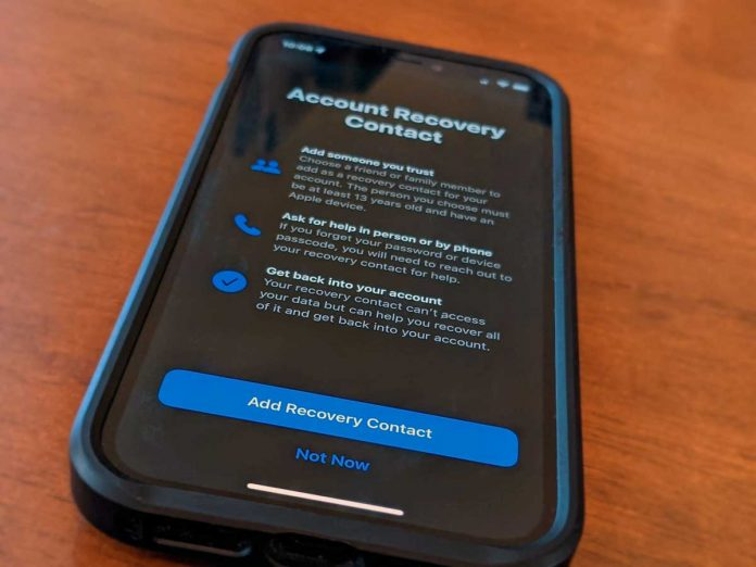 Apple ID Account recovery contact add contacts using iPhone in Settings app for Apple ID