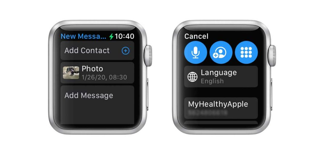 Share photo using Apple Watch Photos app and Add Contacts to send photo to