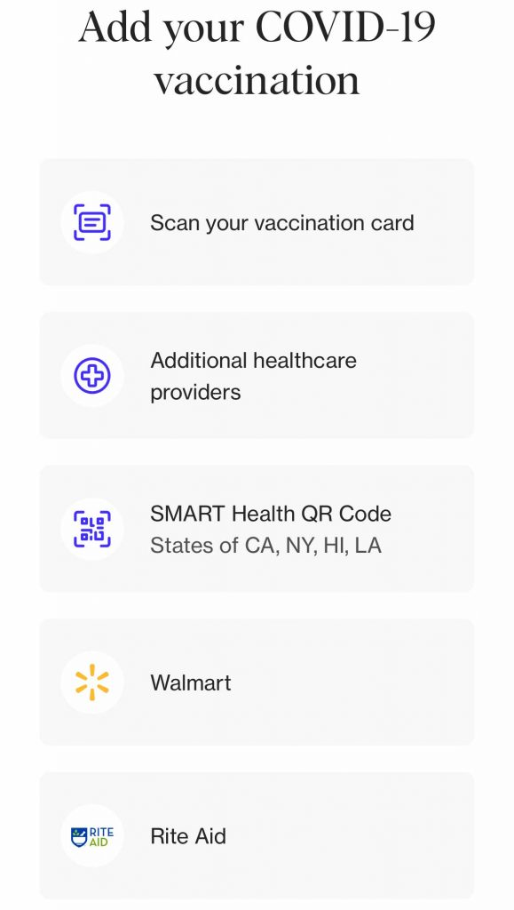 add vaccination card to CLEAR app