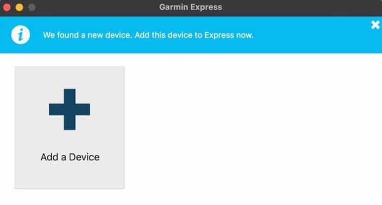 Garmin Express add a device