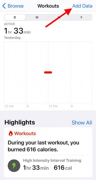 Add missing workout data to Apple health