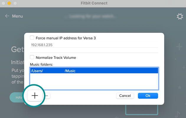 Fitbit Connect app add music folders