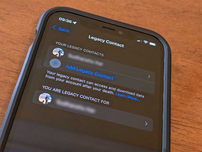 Apple ID settings add or remove a legacy contact