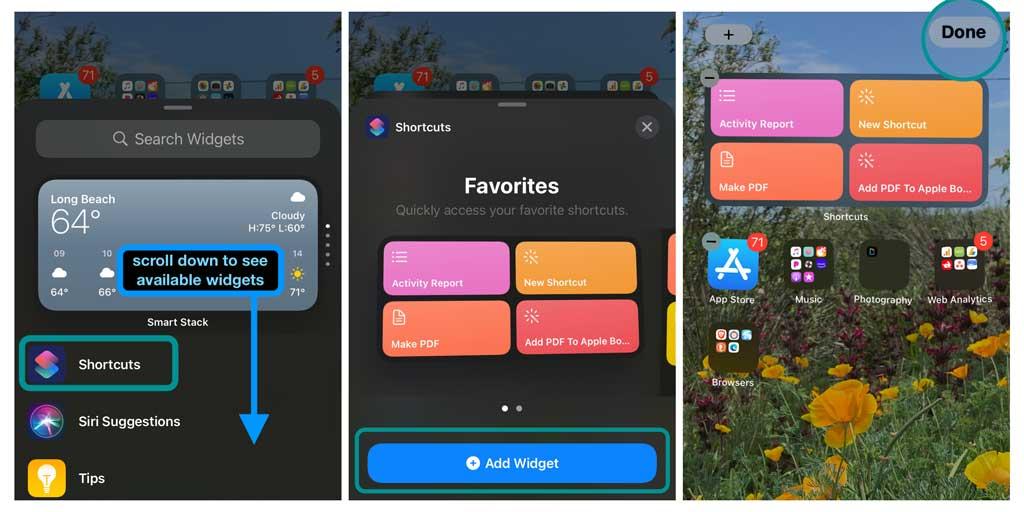 shortcuts widget to iPhone