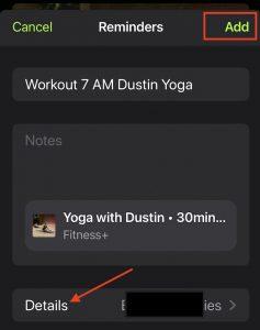 Adding Apple workout to reminder