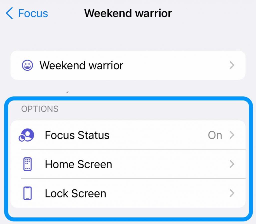 custom focus options