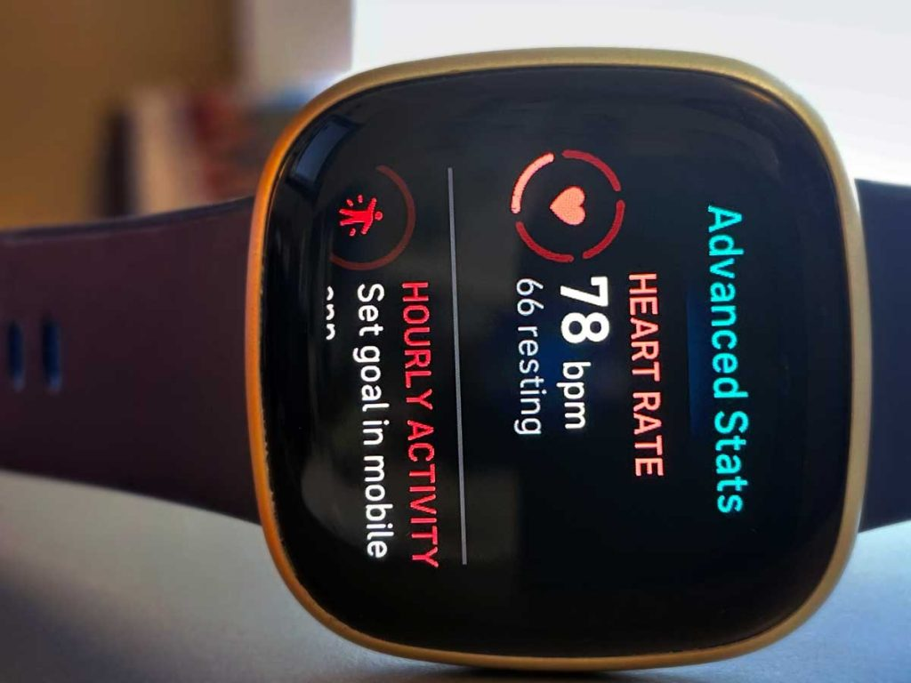 Advanced stats on Fitbit watch for heart rate