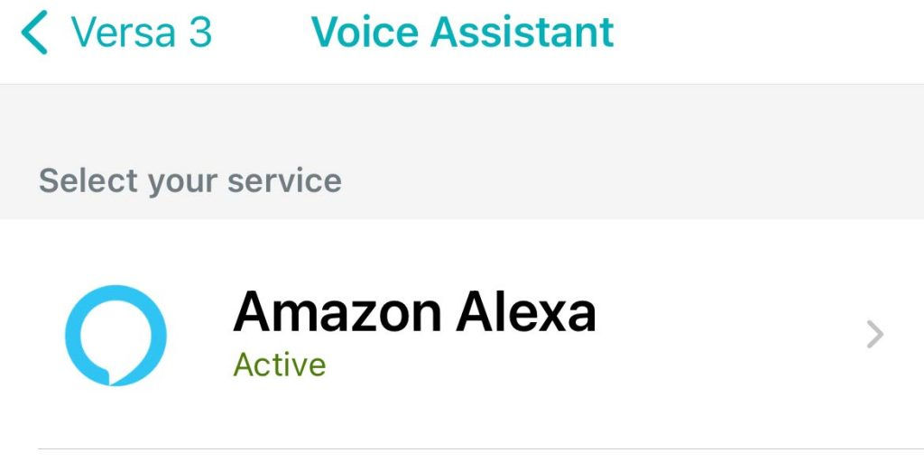 Fitbit app Alexa as active and turned on