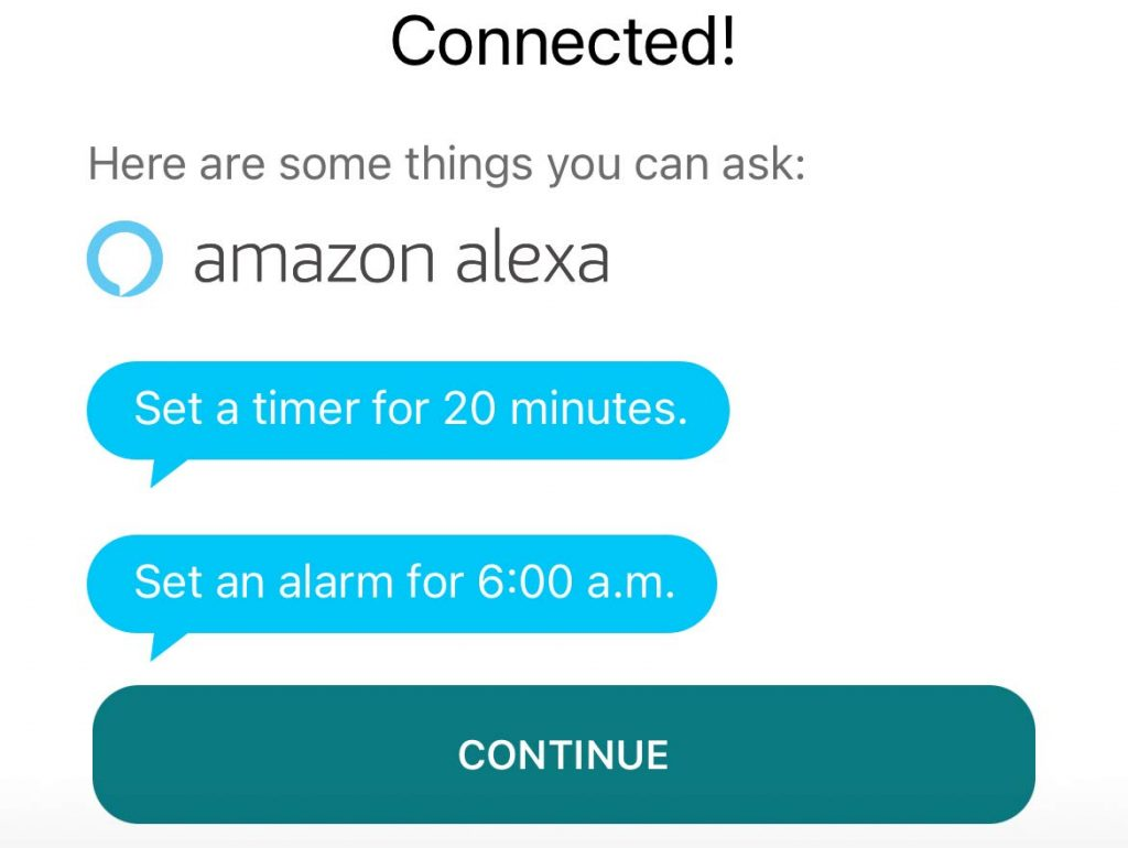 Alexa is connected to your Fitbit confirmation