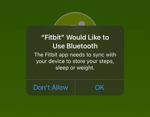 give Fitbit app permission to use bluetooth