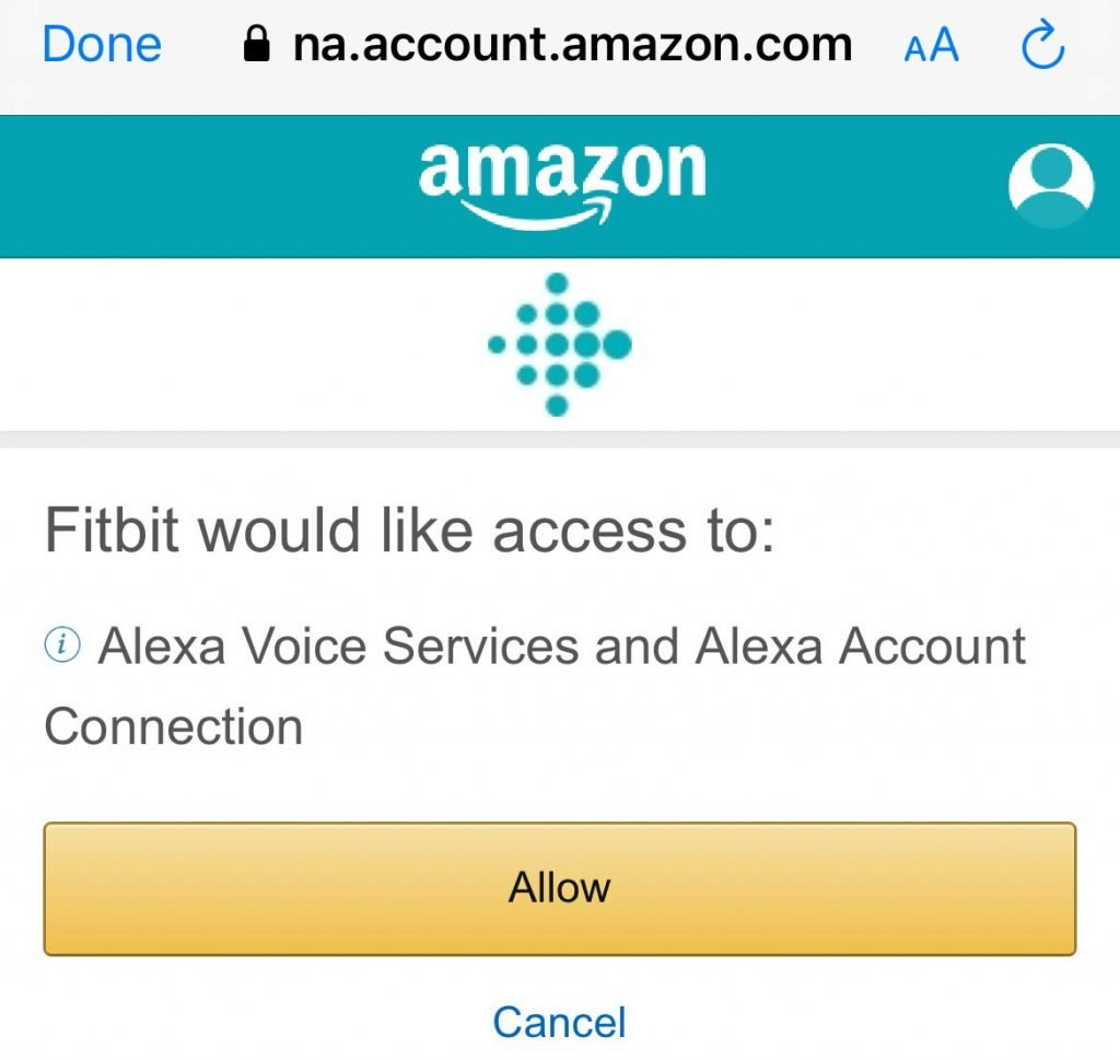 Allow Fitbit to access Amazon Alexa voice services and connect to Alexa