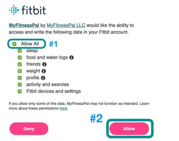 MyFitnessPal allow Fitbit Tracker access