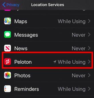 Allow Peloton app access to Location data