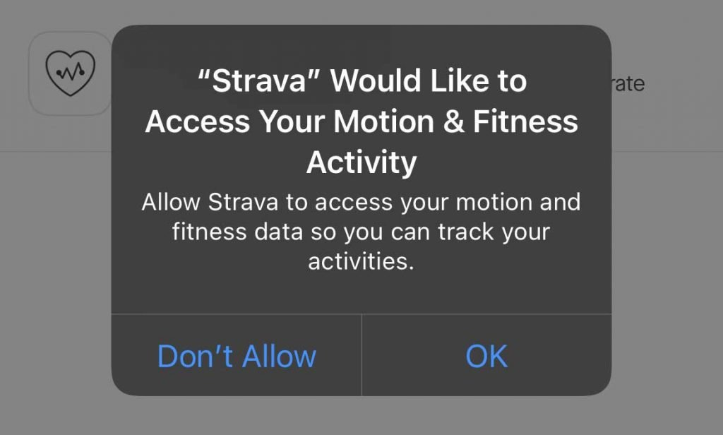 permit Strava to access your watch's motion and fitness data