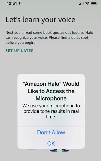 Allow microphone access to Amazon Halo app