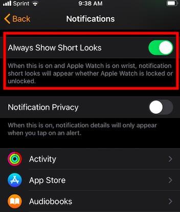watchOS Always show short looks notifications