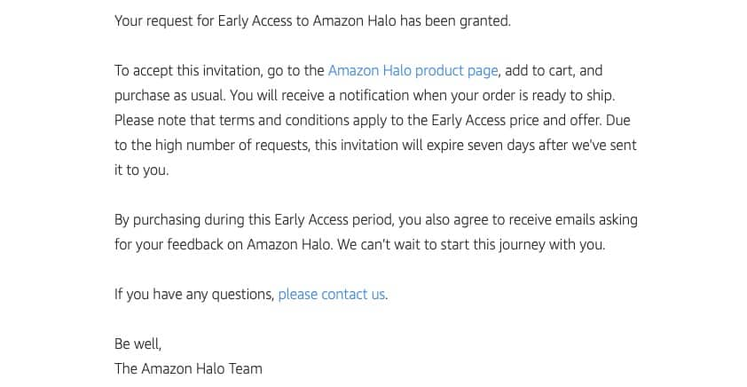 Amazon Halo early request notifications