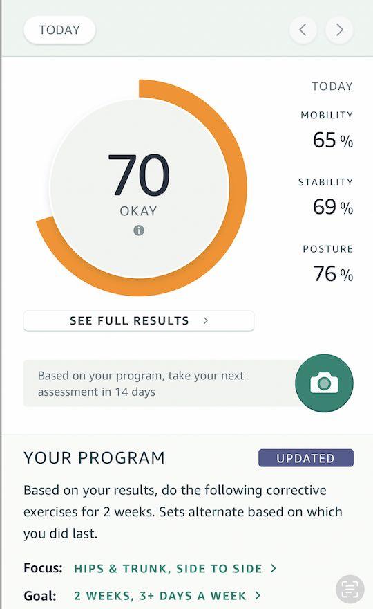 Amazon Halo Movement score and recommendations