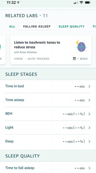 Halo Sleep score and sleep stage metrics