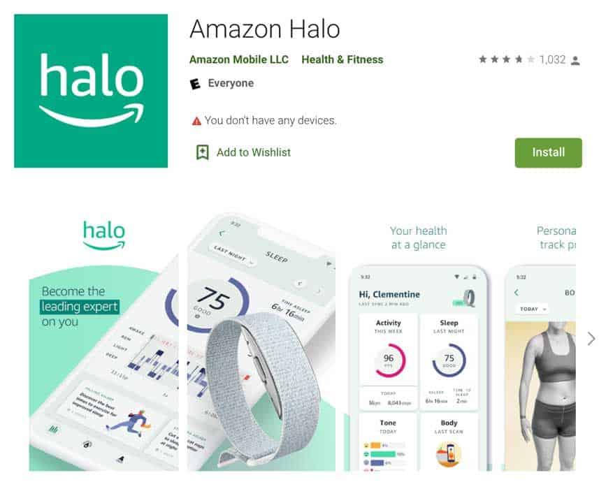 App Store or Google Play Store Amazon Halo app