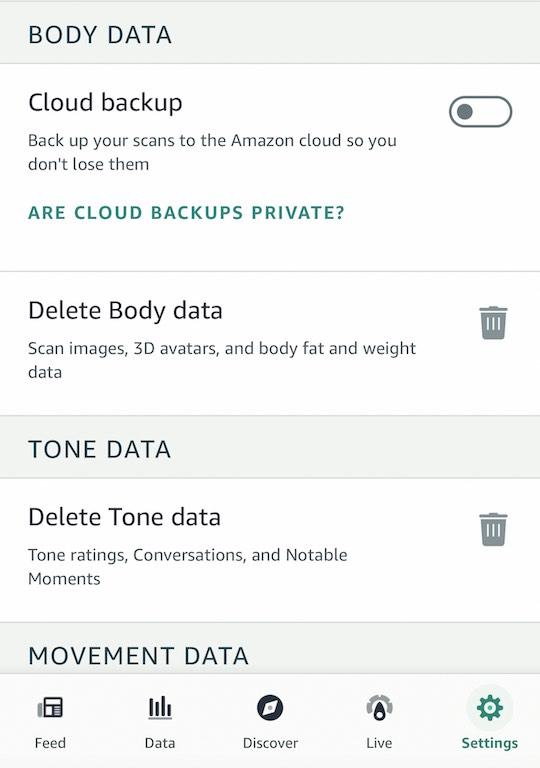 Amazon Halo Movement Health data and privacy
