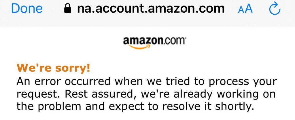 Amazon error with Fitbit connection set up