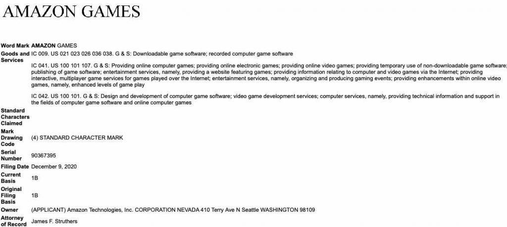 Amazon Games Trademark