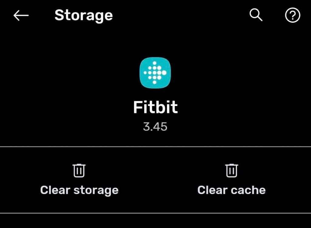 clear cache or clear storage in Fitbit app