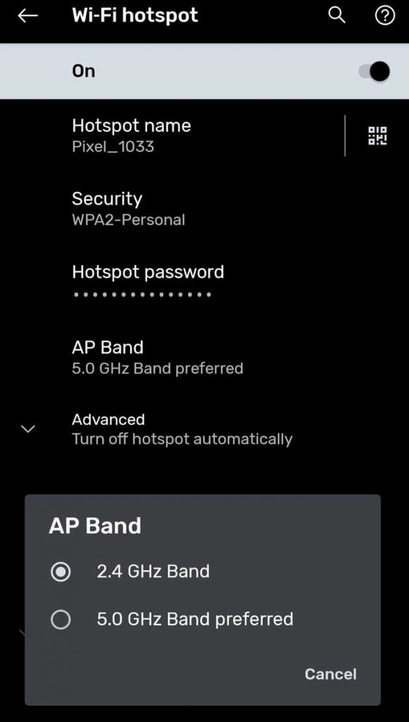 personal hotspot on Android