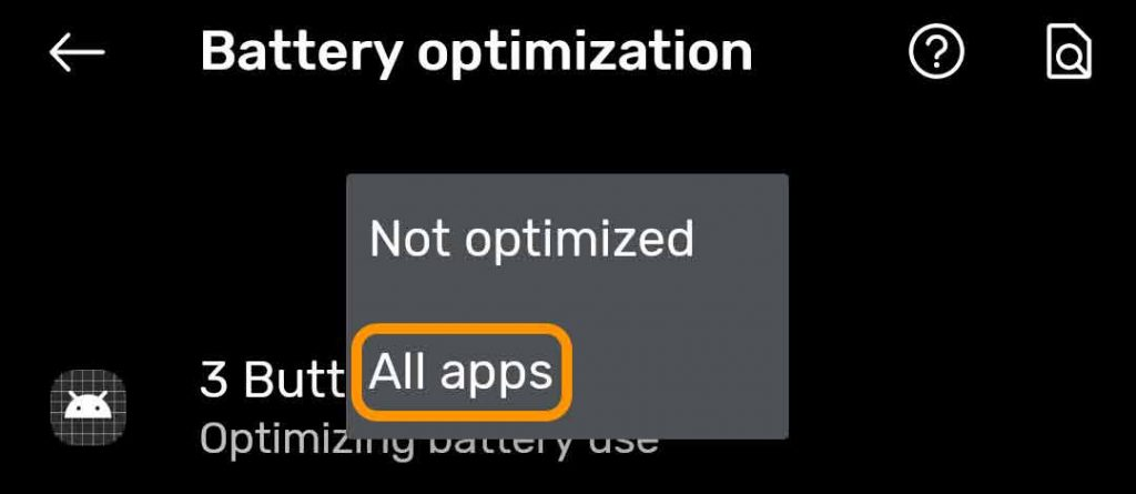 battery optimization on Android settings