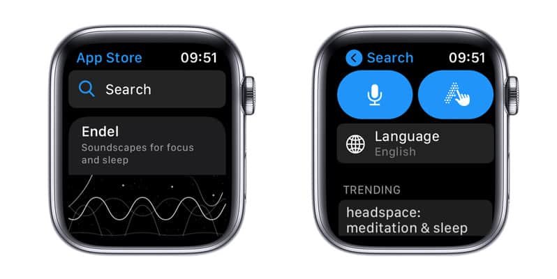 Apple Watch app store and search for app feature