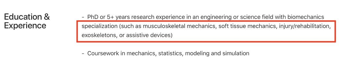 Apple Biomechanics research role