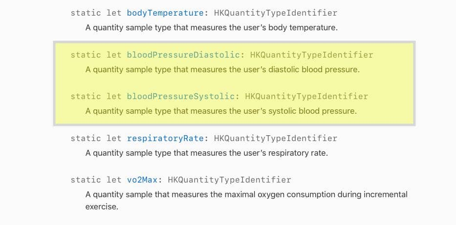 Apple Blood pressure metrics