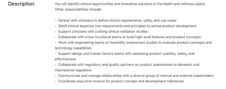 Apple Health Products job