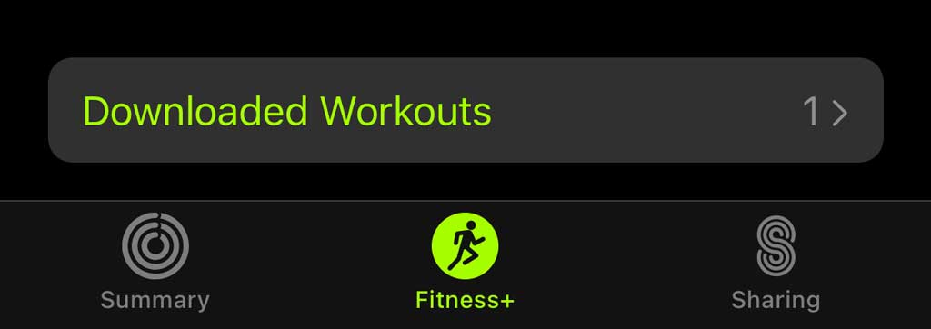 Apple Fitness app showing downloaded workouts for Apple fitness+