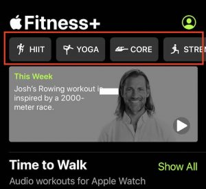 Filter workouts in Apple Fitness+