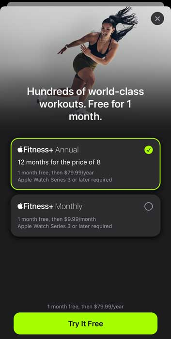 Apple Fitness+ plans by cost