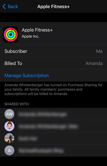 Apple Fitness+ shared family subscription