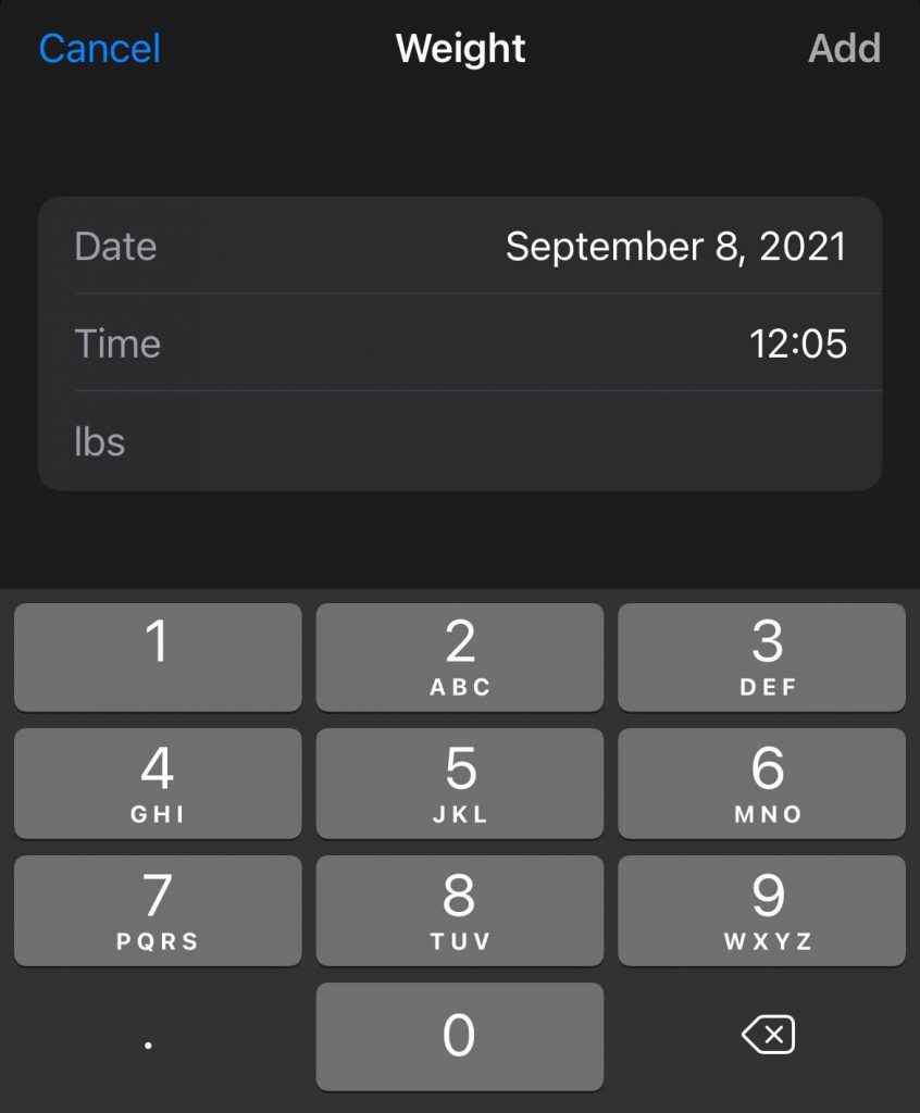 Type in new data to add to Apple Health app on iPhone