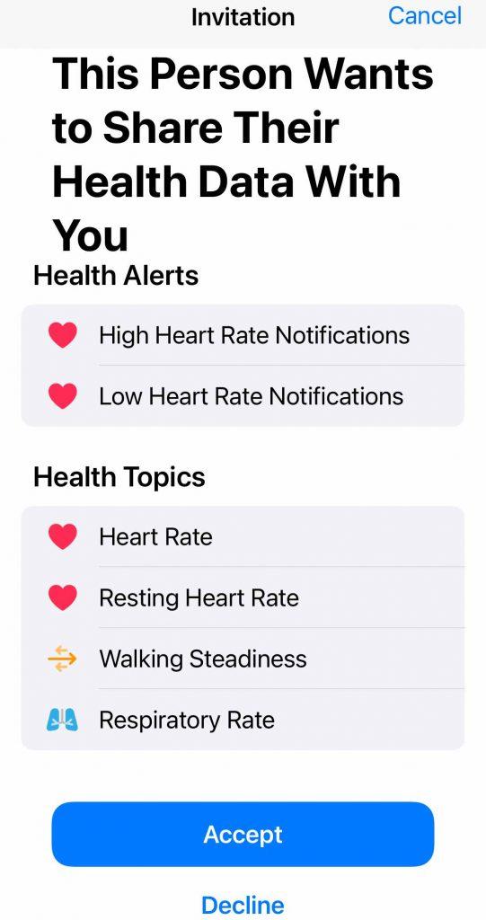 Apple Health app accept or decline invitation to share health data