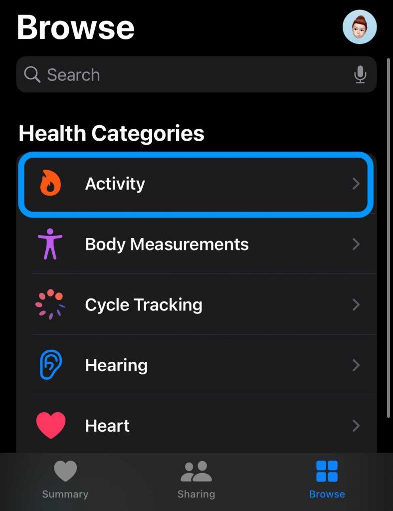 Activity in Apple Health app