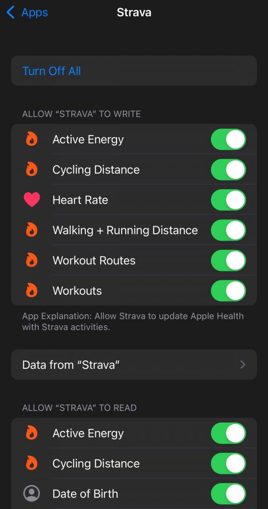 permissions for Strava to read and write to Apple Health app on iPhone