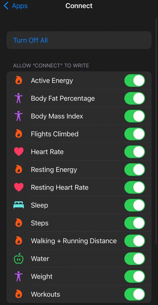 allow or disallow an app from accessing and reading or writing to Apple Health data